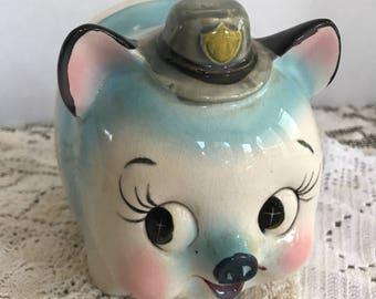 Vintage 1950s Westpac Japan Ceramic Police Pig Piggy Bank