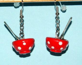 These earrings my Bowl red with white dots BijouxFarfelusdeFL