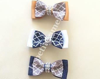 Moroccan Double Ribbon Clip/ ribbon bow/ girl's hair clip/  kids hair clip/ moroccan hair clip/ rhinestone clip