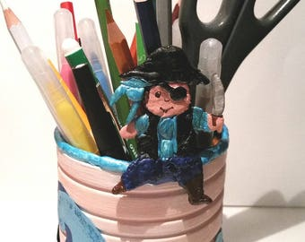 Pencil holder, pirate, child, pencil case recycled