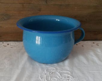 Blue enameled antique chamber pot