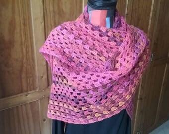 Pink Purple yellow orange multicolored crochet shawl