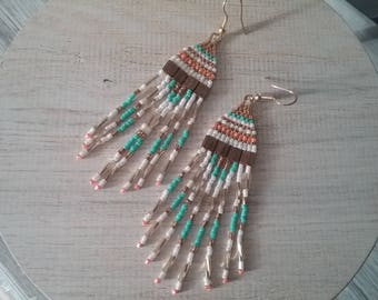 Turquoise, white and orange delica miyuki beads earrings