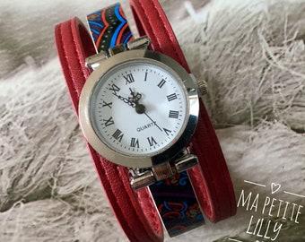 Bracelet Watch.  Silver bracelet round M dark red and multicolor wrist watch original red