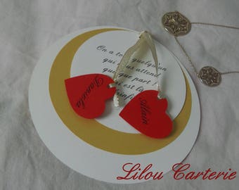 Hearts and round wedding announcements
