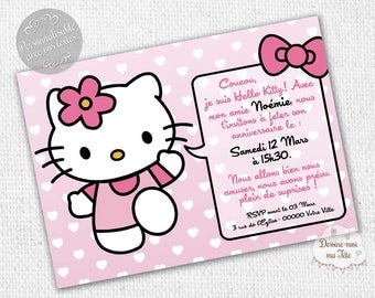 "Personalized ""Hello Kitty pink"" - personalized Invitation birthday invitation printable"