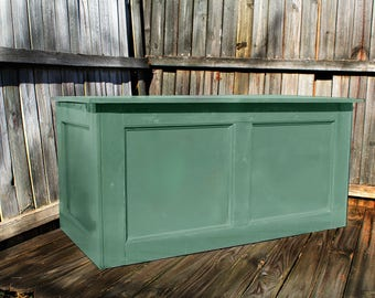 Green, Large Hope Chest, Toy Chest, Trunk, Coffee Table, Entry, Wooden Chest