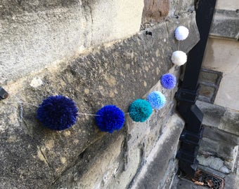 Blue Hues pompom bunting