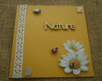 "Square double card yellow color, message ""nature"", daisies + envelope sets matching"