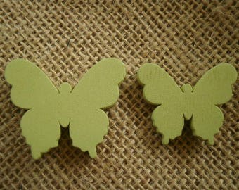 Set of 2 wooden butterflies painted green color, size 3 and 3.5 cm