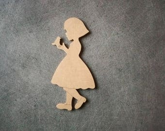 Girl with MDF backing Sparrow has paint or decorate 15.5 cm x 7 cm