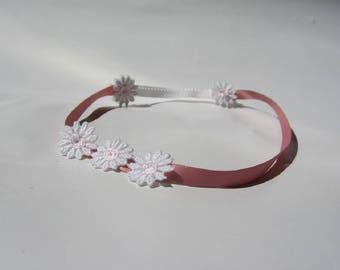 53 cm satin and lace flower girl headband