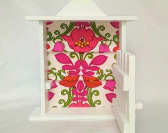 Floral wooden key box key cabinet-
