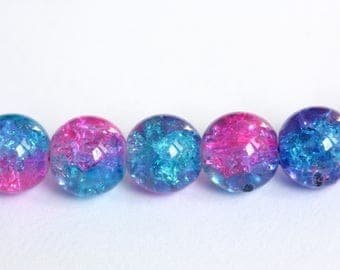 Set of 20 pink and turquoise colored Crackle Glass 10mm round beads