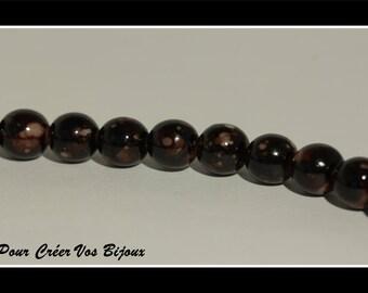 Set of 25 Brown mottled 8 mm glass beads