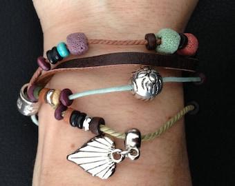 Nice 1 bracelet, waxed cord, lava stone