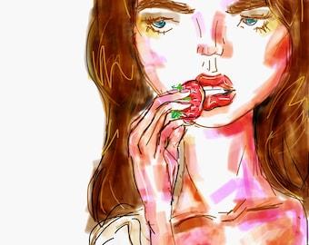 Fashion illustration inspired by Natalia Vodianova