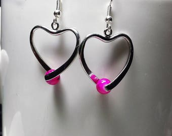 Fuchsia Pearl Heart Earrings