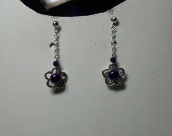 Flower Earrings purple hematite beads