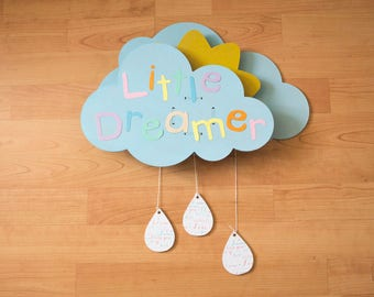 """Little Dreamer"" musical mobile clouds and Sun with Lullaby baby"