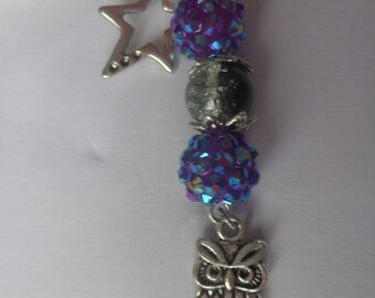 Bookmarks owl, purple bead and Pearl black and transparent