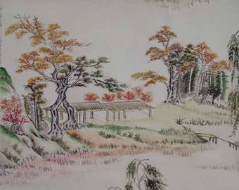 "A long (108.5CM by 40CM ) and very detailed Chinese Painting called ""house in the mountains"" one of a kind"