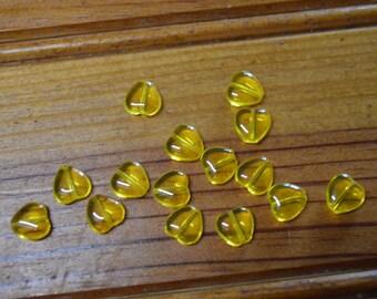 Set of 15 yellow heart shaped beads