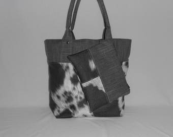 Combo bag and faux leather clutch / bag / purse / tote / bag faux leather imitation cow skin