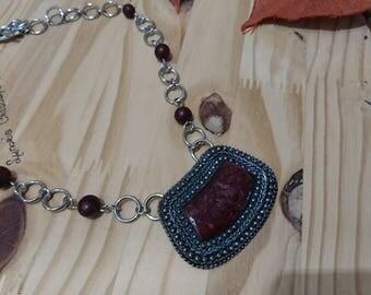 The Brazil acai seeds and enamel pendant necklace