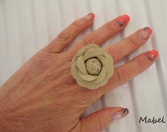 Ring Pearl flower faux Tan Leather, gold champagne, adjustable aluminum wire, wedding