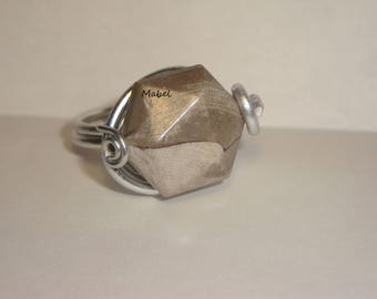 Ring beige, taupe, form polygon aluminum silver, adjustable, wedding