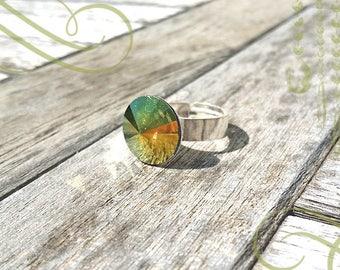 Swarovski 12 mm Crystal Iridescent Green 925 sterling silver adjustable cabochon ring