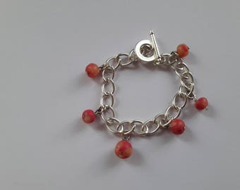 Chain bracelet with charms Fimo rose beige