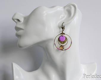 'Oriamis' seed beads and sequin purple enamel hoop earrings