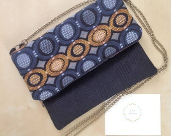 Clutch bag with flap, two-tone.