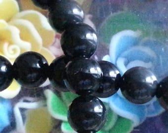10 pearls d ' Obsidian 8 mm diameter, hole 1 mm
