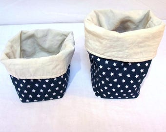 "Two small blue and white reversible baskets - storage, decoration - Collection ""Blue Star"""