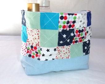 Blue storage basket, small basket patchwork decor child's room