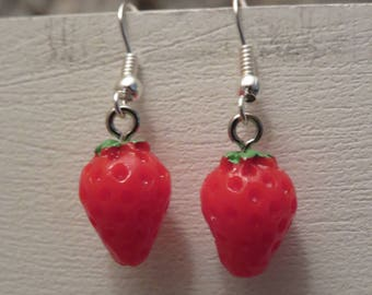 "Strawberry earrings ""collection fruity"""
