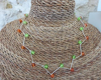 """Two-tone zigzag """"fall collection"""" necklace"""