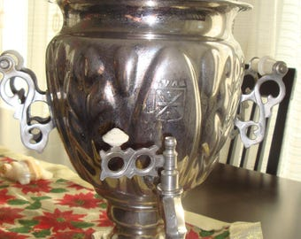 Vintage Beautiful Antique Electric SAMOVAR Metal 1979 Home Sweet Home Samovar Urn Tea Russian Nickel Plated Brass USSR TULA Gift for Her