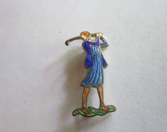 Antique Art Deco Enameled Flapper Girl Lady Golfer Brooch