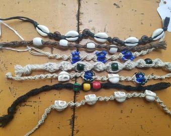 Handmade Hemp Macrame Beaded Bracelets