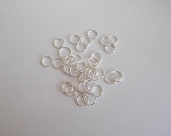 1 pack of 20 rings open Sterling Silver 925 7 mm diameter