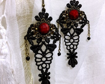 Earring lace black and red vintage bead earrings Bohemian