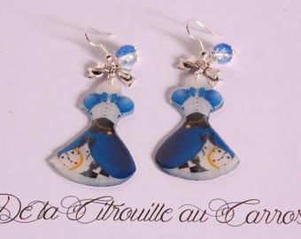 Alice Blue style dress earrings.