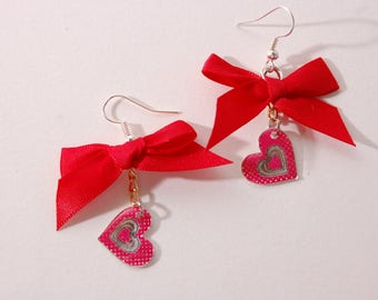 Heart red and silver, Red Bow earrings