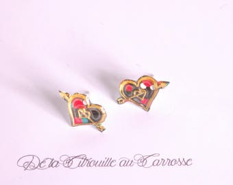 Black gold dot and red heart ear studs