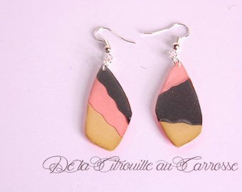 Coral, black and gold earrings