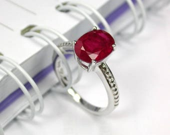 4.5 ct Natural red ruby ring sterling silver wedding ring.